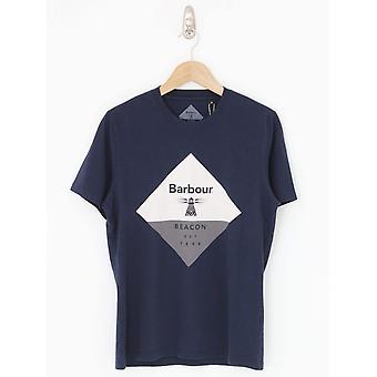 Barbour Beacon Diamond Print Tee - Navy