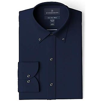 """BUTTONED DOWN Men-apos;s Slim Fit Button Collar Solid Pocket Options, Navy 16.5"""" N..."""