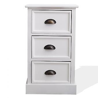 Rebecca Furniture Comodino Mobile 3 Modern White Wood Drawers 63x37x27
