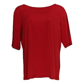 Susan Graver Women's Top Liquid Knit Bateau Nk W/Elbow Sleeves Red A213063