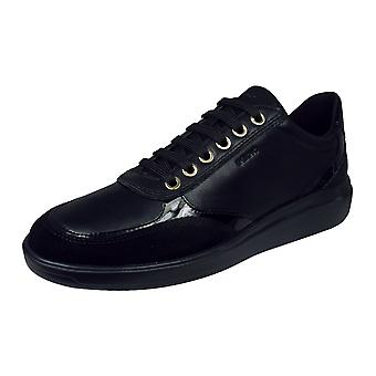 Geox D Tahina C Womens Nappa Leather Lace up and Zip Trainers  - Black