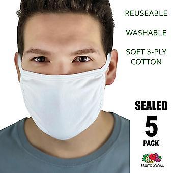 5 Pack • weiß wiederverwendbare weiche Baumwolle waschbar 3 Ply Gesichtsmaske Abdeckungen FOTL