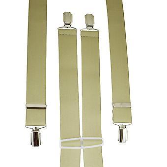 Ties Planet Plain Beige Men's Trouser Braces - Clip d'argento