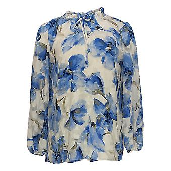 Dennis Basso Women's Top Printed Woven Peasant Blue A349305