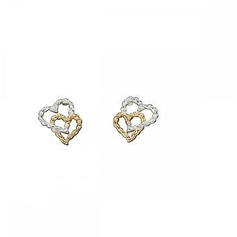 Elementos prata amarelo placa de ouro brincos de coração de corda E5492