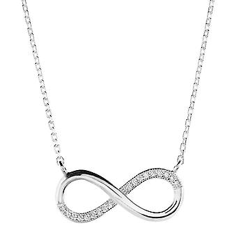 Dew Sterling Silver Large Infinity Cubic Zirconia 17 Necklet 9516CZ027