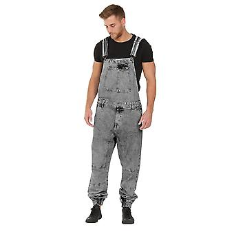 Ethan mens dungarees with elasticated ankle - black acid wash