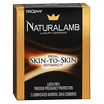 Trojan Naturalamb Natural Skin Lubricated Luxury Condoms, 3 each