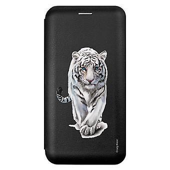 Etui Pour Iphone 12 Mini (5,4) Noir Motif Tigre Blanc