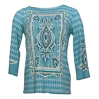 Bob Mackie Women's Top Printed Knit Pullover Blue A305611