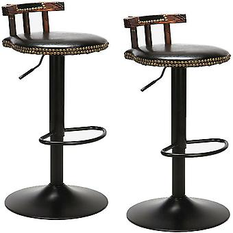 2 X 360° Swivel Wooden Bar Stool High Leg Lifting Leather Seat Chair Pub