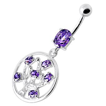 Purple Crystal Stone Tree in Round Frame Dangling Sterling Silver Belly Bars Piercing