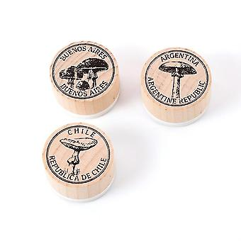 Diy Craft Wooden Rubber Round Vintage Collection Of Plant Collection Stamp
