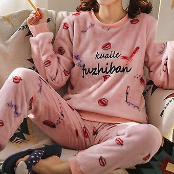 Autumn/winter Warm Flannel Women Pyjamas Sets Thick Coral Velvet Cartoon