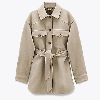 Mode lose Wolle Jacke Mantel Vintage Langarm Seitentaschen Outerwear