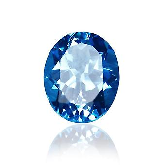 Natural Blue Topaz 3.2ct Crystal 8*10mm Elliptical Bare Stone For Earrings