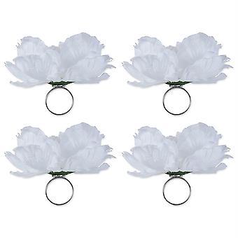 Dii Peony Napkin Ring (Set Of 4) White