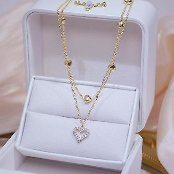Real Gold Double Layer Heart Necklace, Shining/bling Women Chain Wedding