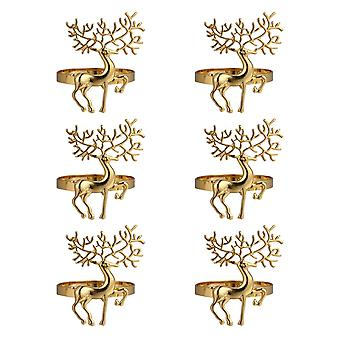 6pcs عيد الميلاد سبائك لطيف دائم حساسة الغزلان منديل خاتم