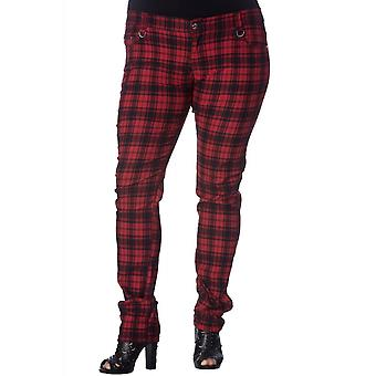 Banned Apparel Red Check Skinny Jeans