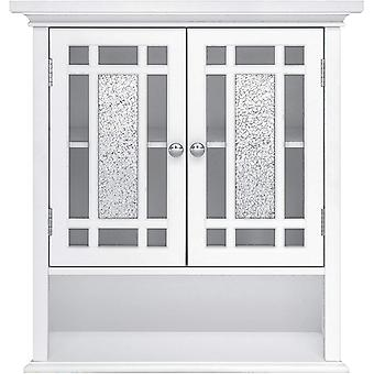 Elegant Home Fashions Bathroom Windsor Wooden Wall Cabinet 2 Doors White ELG-527, 17.8 x 55.9 x 61