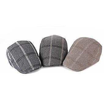 Men's Plaid Newsboy Gatsby Hat Vintage Beret Flat Ivy Cabbie Driving Hunting Cap For Boyfriend Gift 3 Colors