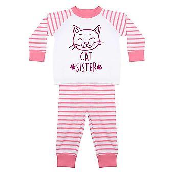 猫姉妹ピンクストライプパジャマ