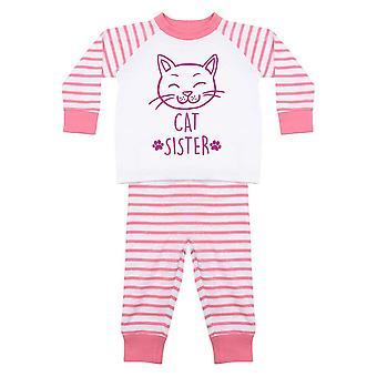 Kedi Kız Kardeş Pembe Çizgili Pijama