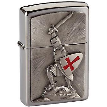 Zippo Feuerzeug 1300103 Kreuzzug Sieg Benzinfeuerzeug, Messing, gebürstetes Chrom, 1 x 3,5 x 5,5 cm