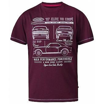 DUKE Duke Hombres de Gran Tamaño - Brady - D555 Classic V8 Coupe Algodón Crew Cuello Camiseta Borgoña Marl