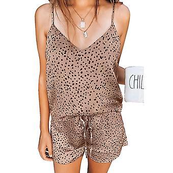 Carino set di pigiami in raso punteggiato multicolore Cami and Shorts