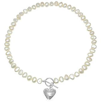 Pearls of the Orient Amare Hammered Heart Freshwater Pearl Necklace - White