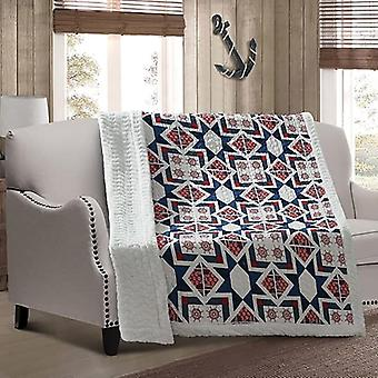 Spura Home Geometric Captains Wheel Quilted Lodge And Lake Sherpa Throw