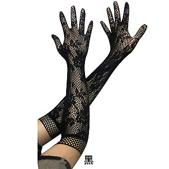 Women's Long Gloves Evening Party Transparent Lace Elegant Gloves Black