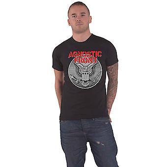 Agnóstico camiseta frontal contra todo el logotipo de la banda de águila nuevo oficial Hombres Negro