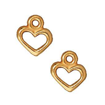 TierraCast 22K Gold Plated Pewter Open Heart Charm 9mm (2)