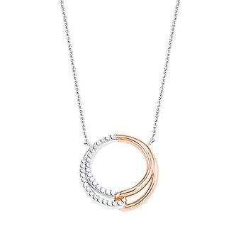 Amor - Kvinders halskæde med runde vedhæng i sølv 925 delvist belagt med rosa guld, med hvide zircons