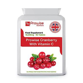 Cranberry With Vitamin C Cranberry Double Strength 10,000mg 90 Tablets Suitable for Vegetarians & Vegans by Prowise