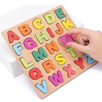 20cm houten drukke raad met kleurrijke alfabet nummer 3D puzzel kinderen vroeg educatief speelgoed bijpassende brief familiespel