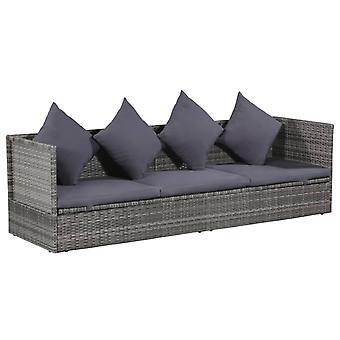 vidaXL Garden Bed Grey 200×60 cm Poly Rattan