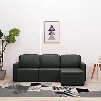 vidaXL modular 3 sièges canapé-lit gris en simili-faux
