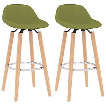 vidaXL Bar Stool 2 Pcs. Green Fabric
