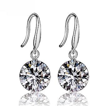Longues boucles d'oreilles Aaa Zircon Loose Diamond Silver Ear Studs For Birthday Gift