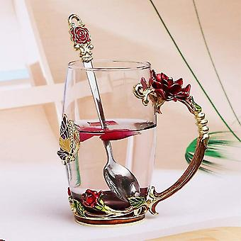 Tea Cup, Coffee Mug, Clear Glass Cups With Spoon Set, Lead Free Handmade Butterfly(Red Tall)