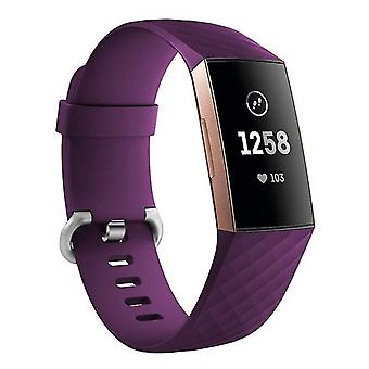 Pulsera de silicona compatible con Fitbit Charge 3 (púrpura)