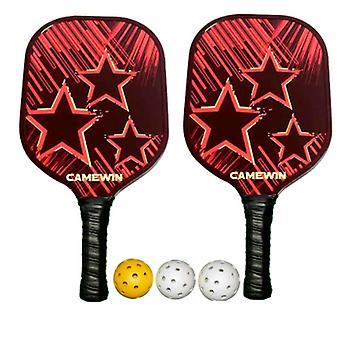 2Pcs pickleball racket set 3 ballen & 2 paddles &1 zak koolstofvezel samenstelling pe honingraat kern racket oppervlak lichtgewicht