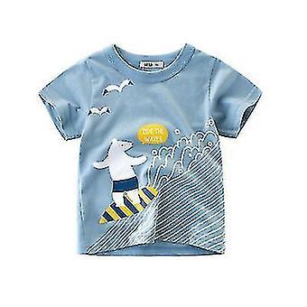 Barnas Kortermede T-skjorter Barn Klær Gutter Og Jenter Sommer T-skjorte (130cm)