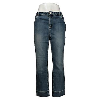 LOGO by Lori Goldstein Women's Jeans Straight-Leg Ankle Blue A345543