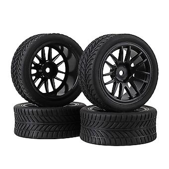 Remote control toy accessories 4pcs black plastic 14spoke wheel rim single oriented tyre for rc1:10 on road car