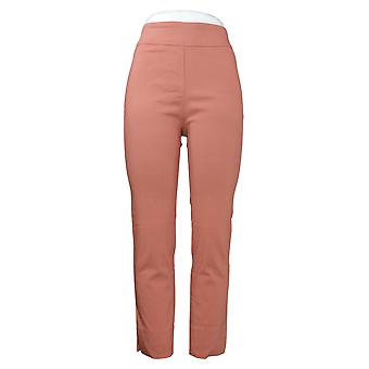 MarlaWynne Women's Pants Stretch Twill FLATTERfit With Slit Pink 646478
